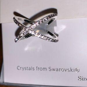 0d73c0ce8 Swarovski Jewelry   Crystal Cross Ring 7 In Sterling Silver   Poshmark